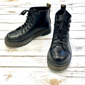 Inspired Doc Martens Black Faux Leather Lace Boots